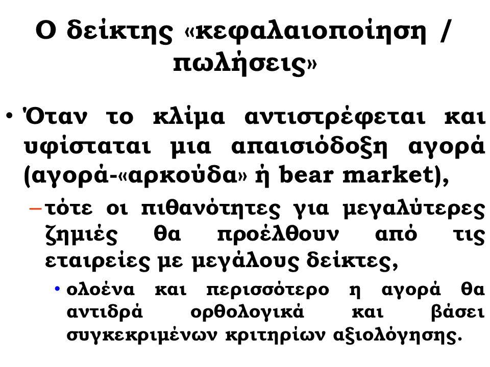 Ο δείκτης «κεφαλαιοποίηση / πωλήσεις» Σε αισιόδοξη αγορά (αγορά-«ταύρο» ή bull market) ο συσχετισμός του συγκεκριμένου δείκτη με τη μετοχή της εταιρείας εξασθενεί σε σημαντικό ορισμένες φορές βαθμό – λόγω του θετικού κλίματος που ωθεί την αγορά υψηλότερα χωρίς να καθιστά αναγκαία την ορθολογική ή επιστημονική προσέγγιση των τιμών.