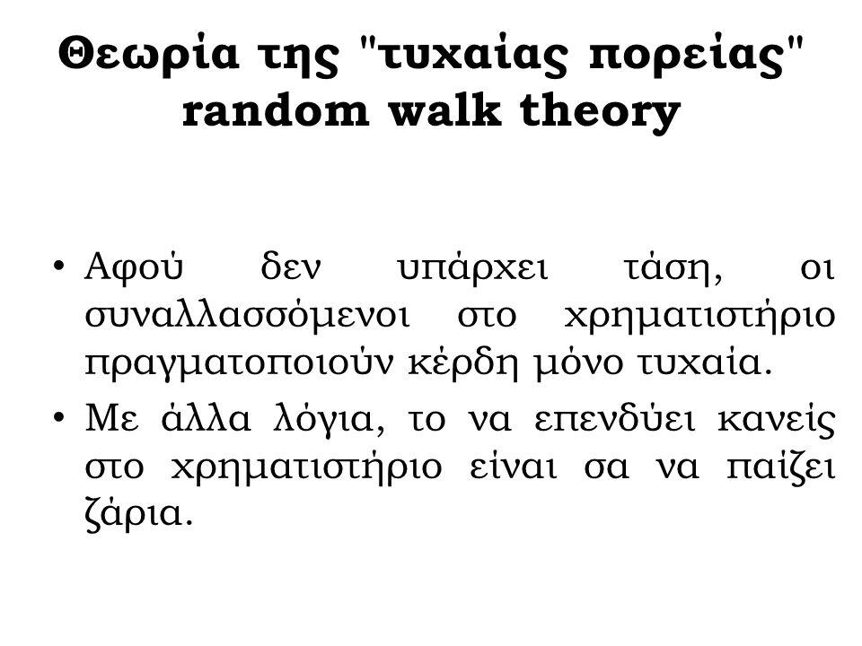 Η θεωρία της τυχαίας επέλευσης των χρηματιστηριακών τιμών Η θεωρία της τυχαίας επέλευσης των χρηματιστηριακών τιμών (random walk theory) ή αλλιώς η θεωρία της αποτελεσματικής αγοράς.