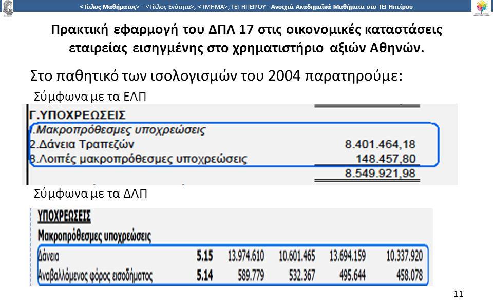 1 -,, ΤΕΙ ΗΠΕΙΡΟΥ - Ανοιχτά Ακαδημαϊκά Μαθήματα στο ΤΕΙ Ηπείρου Πρακτική εφαρμογή του ΔΠΛ 17 στις οικονομικές καταστάσεις εταιρείας εισηγμένης στο χρηματιστήριο αξιών Αθηνών.