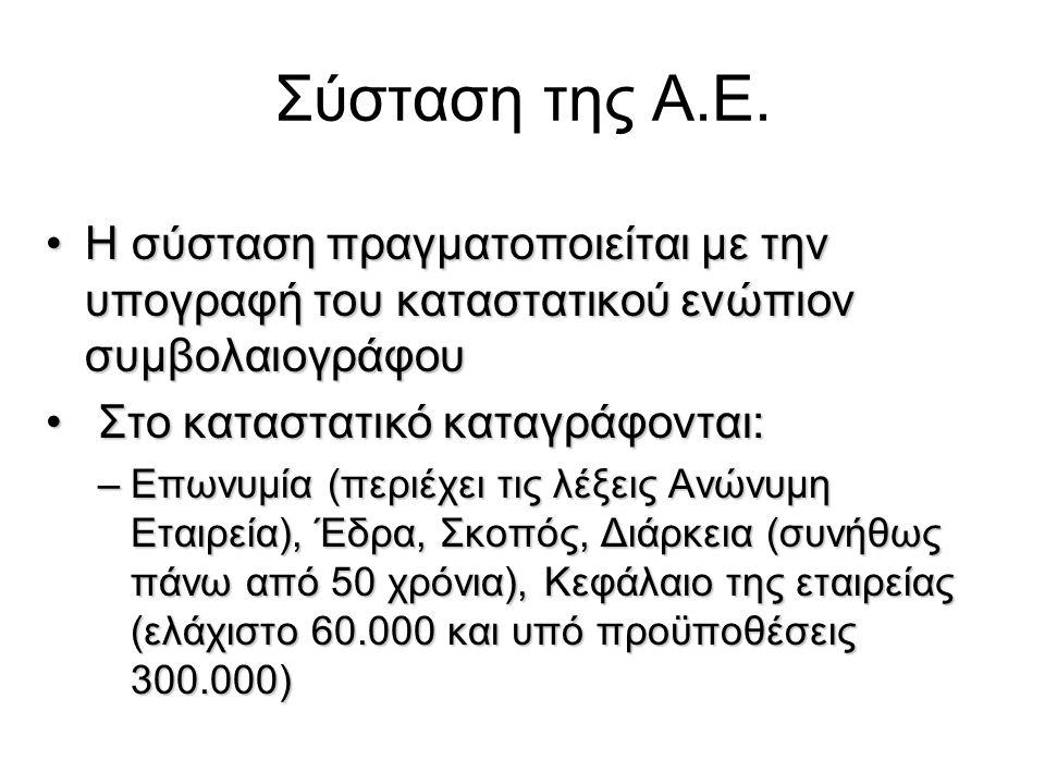 Σύσταση της Α.Ε.
