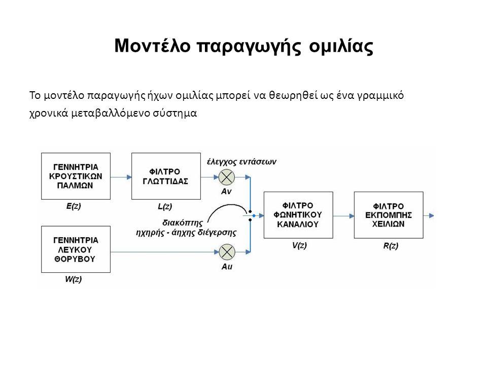 Μοντέλο παραγωγής ομιλίας Το μοντέλο παραγωγής ήχων ομιλίας μπορεί να θεωρηθεί ως ένα γραμμικό χρονικά μεταβαλλόμενο σύστημα