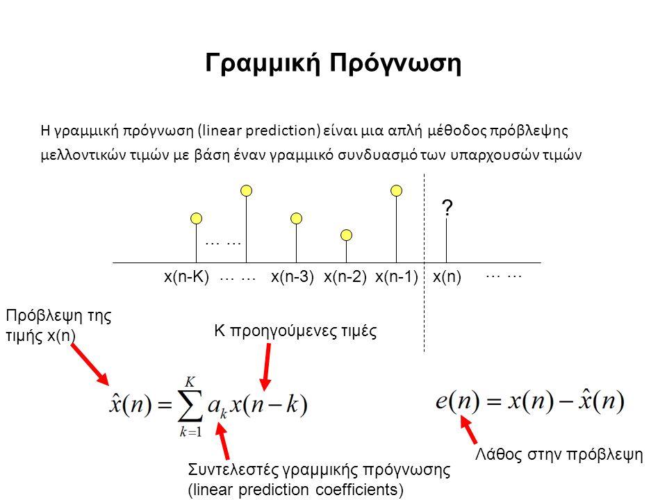 Γραμμική Πρόγνωση Η γραμμική πρόγνωση (linear prediction) είναι μια απλή μέθοδος πρόβλεψης μελλοντικών τιμών με βάση έναν γραμμικό συνδυασμό των υπαρχ