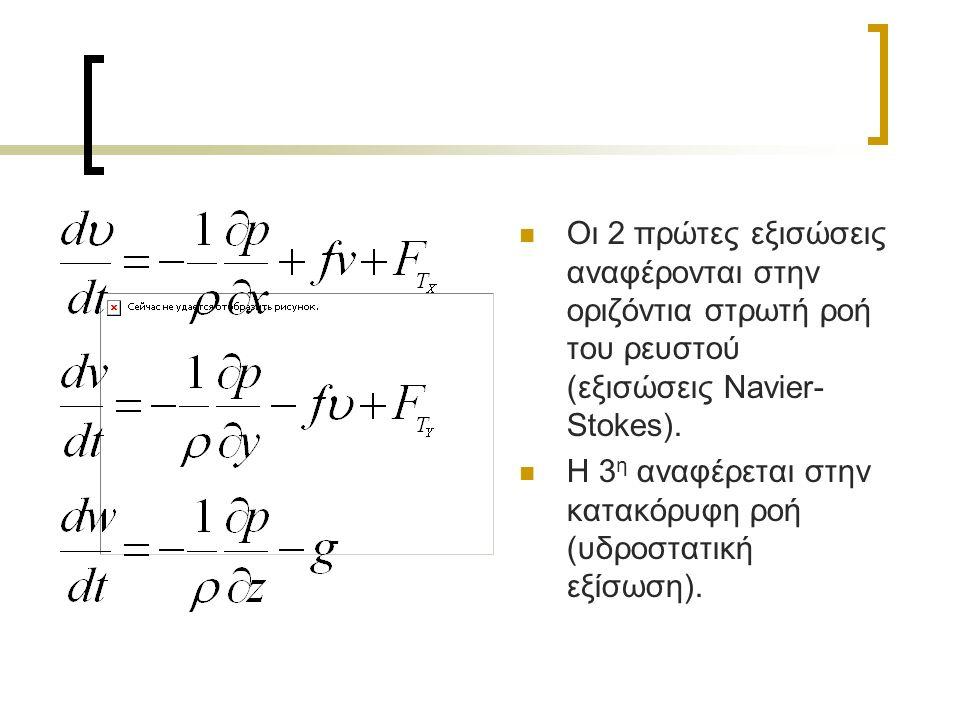 Οι 2 πρώτες εξισώσεις αναφέρονται στην οριζόντια στρωτή ροή του ρευστού (εξισώσεις Navier- Stokes).