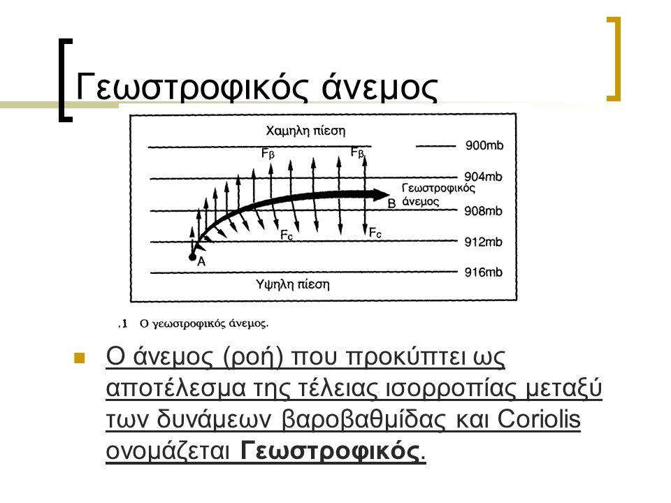 Γεωστροφικός άνεμος Ο άνεμος (ροή) που προκύπτει ως αποτέλεσμα της τέλειας ισορροπίας μεταξύ των δυνάμεων βαροβαθμίδας και Coriolis ονομάζεται Γεωστροφικός.