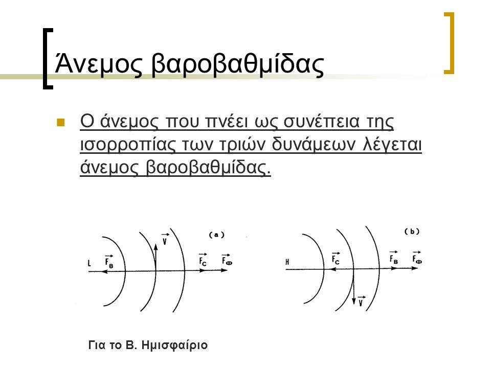 Άνεμος βαροβαθμίδας Ο άνεμος που πνέει ως συνέπεια της ισορροπίας των τριών δυνάμεων λέγεται άνεμος βαροβαθμίδας.