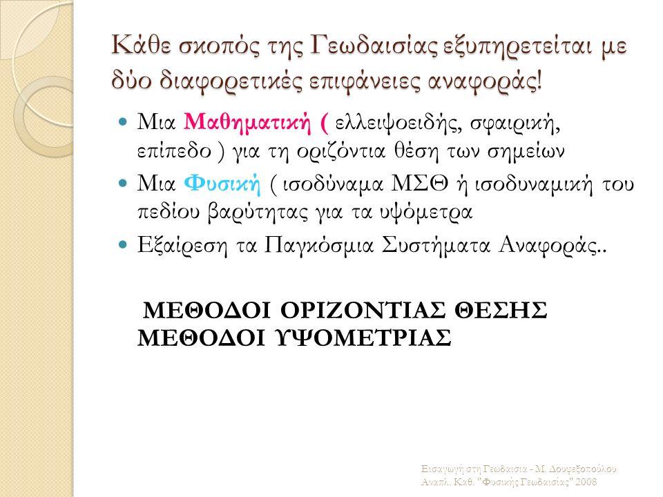 Κάθε σκοπός της Γεωδαισίας εξυπηρετείται με δύο διαφορετικές επιφάνειες αναφοράς! Μια Μαθηματική ( ελλειψοειδής, σφαιρική, επίπεδο ) για τη οριζόντια