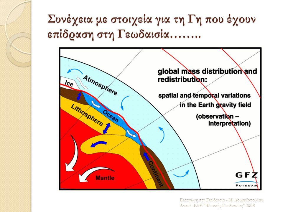 Συνέχεια με στοιχεία για τη Γη που έχουν επίδραση στη Γεωδαισία…….. Εισαγωγή στη Γεωδαισια - Μ. Δουφεξοπούλου Αναπλ. Καθ.
