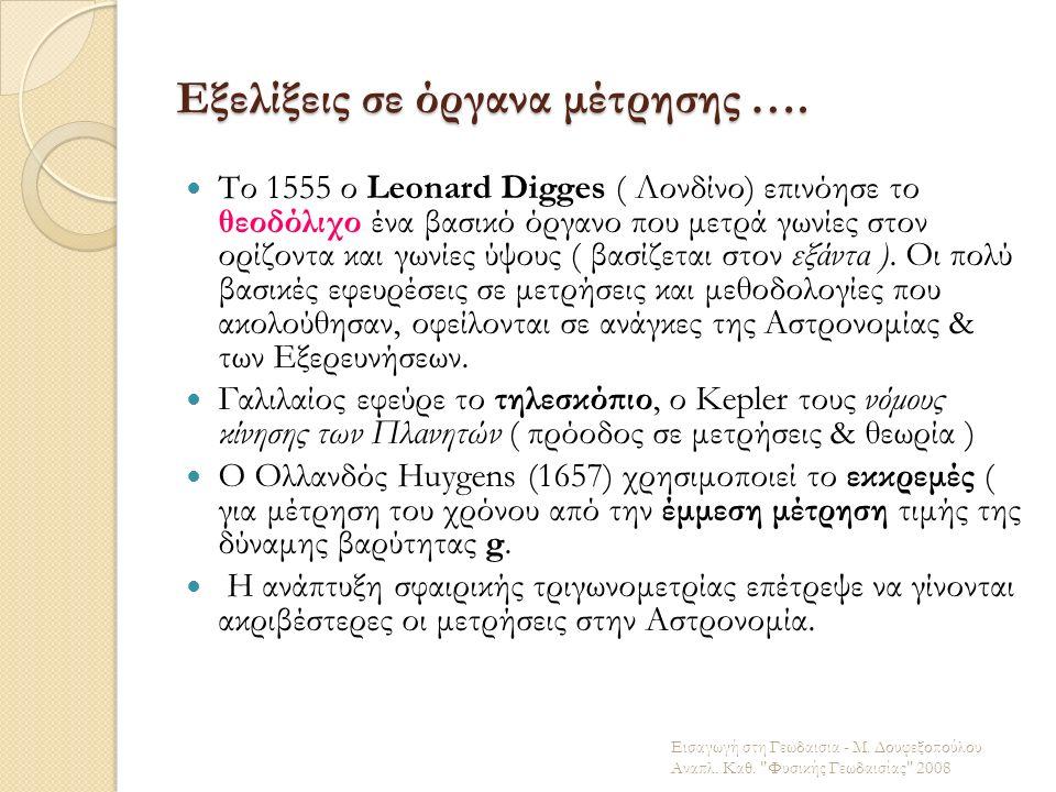 Εξελίξεις σε όργανα μέτρησης …. Το 1555 ο Leonard Digges ( Λονδίνο) επινόησε το θεοδόλιχο ένα βασικό όργανο που μετρά γωνίες στον ορίζοντα και γωνίες