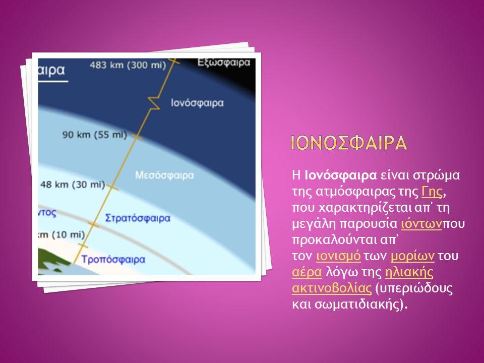 Η Ιονόσφαιρα είναι στρώμα της ατμόσφαιρας της Γης, που χαρακτηρίζεται απ τη μεγάλη παρουσία ιόντωνπου προκαλούνται απ τον ιονισμό των μορίων του αέρα λόγω της ηλιακής ακτινοβολίας (υπεριώδους και σωματιδιακής).Γηςιόντωνιονισμόμορίων αέραηλιακής ακτινοβολίας