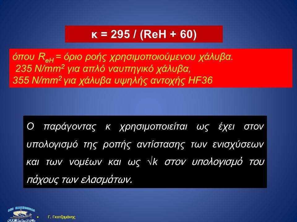 Γ. Γκοτζαμάνης όπου R eH = όριο ροής χρησιμοποιούμενου χάλυβα. 235 N/mm 2 για απλό ναυπηγικό χάλυβα, 355 N/mm 2 για χάλυβα υψηλής αντοχής HF36 κ = 295
