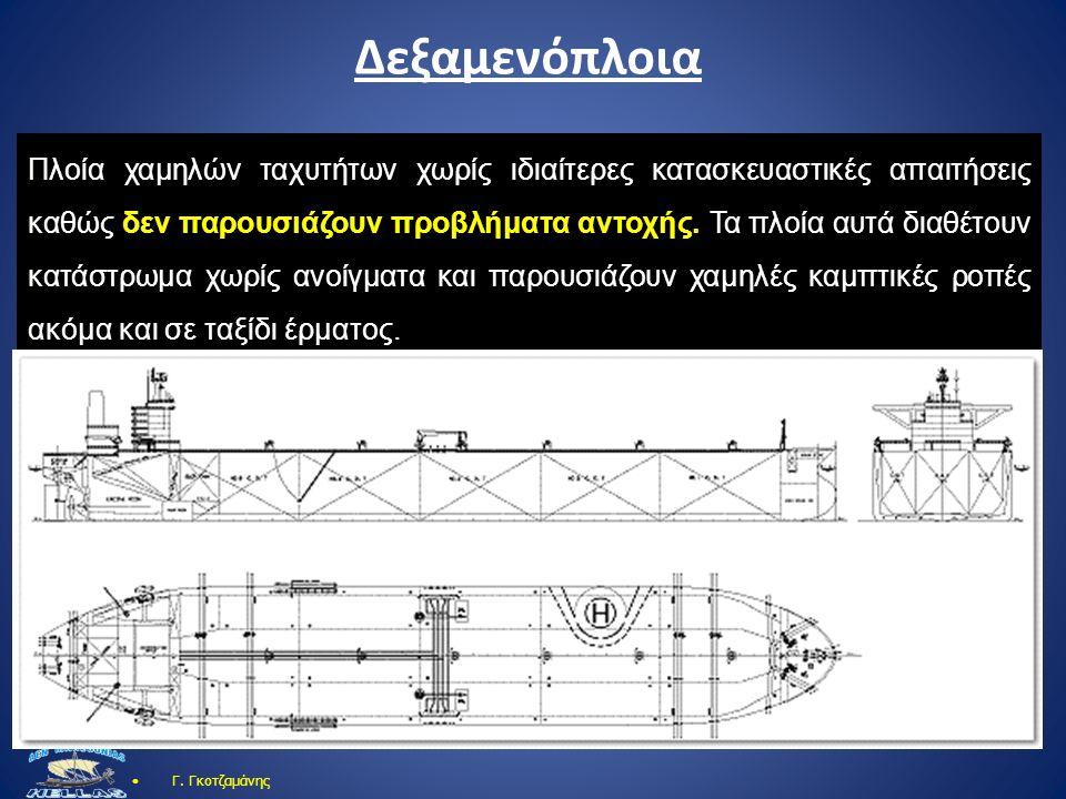 Δεξαμενόπλοια Γ. Γκοτζαμάνης Πλοία χαμηλών ταχυτήτων χωρίς ιδιαίτερες κατασκευαστικές απαιτήσεις καθώς δεν παρουσιάζουν προβλήματα αντοχής. Τα πλοία α
