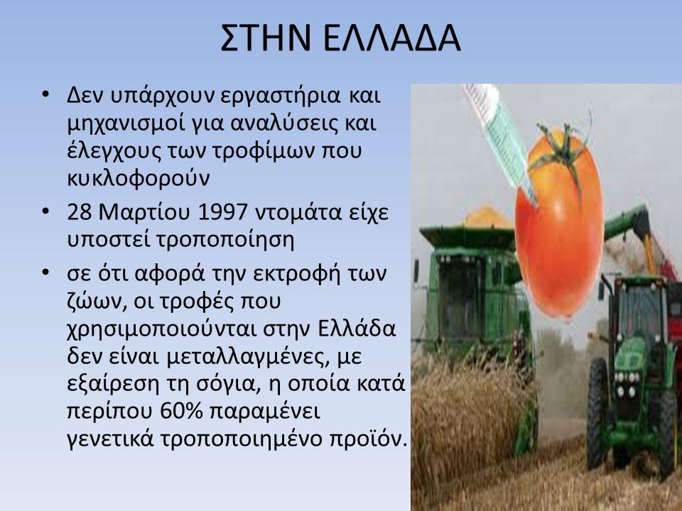 ΣΤΗΝ ΕΛΛΑΔΑ Δεν υπάρχουν εργαστήρια και μηχανισμοί για αναλύσεις και έλεγχους των τροφίμων που κυκλοφορούν 28 Μαρτίου 1997 ντομάτα είχε υποστεί τροποποίηση σε ότι αφορά την εκτροφή των ζώων, οι τροφές που χρησιμοποιούνται στην Ελλάδα δεν είναι μεταλλαγμένες, με εξαίρεση τη σόγια, η οποία κατά περίπου 60% παραμένει γενετικά τροποποιημένο προϊόν.