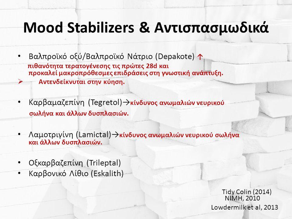 Mood Stabilizers & Αντισπασμωδικά Βαλπροϊκό οξύ/Βαλπροϊκό Νάτριο (Depakote) ↑ πιθανότητα τερατογένεσης τις πρώτες 28d και προκαλεί μακροπρόθεσμες επιδράσεις στη γνωστική ανάπτυξη.