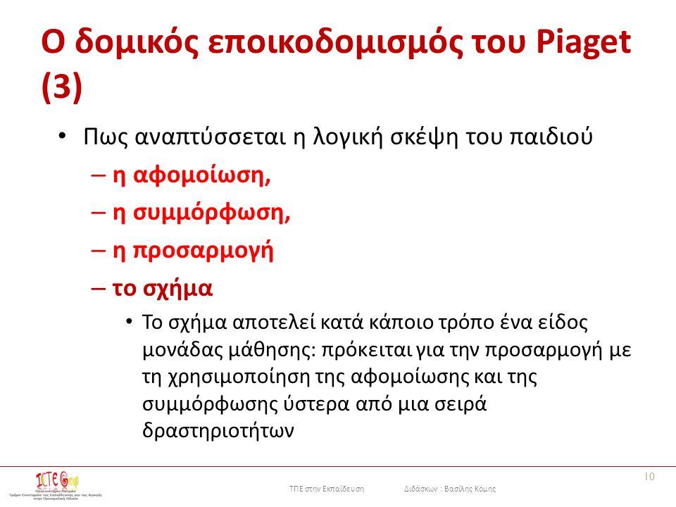 ΤΠΕ στην Εκπαίδευση Διδάσκων : Βασίλης Κόμης Ο δομικός εποικοδομισμός του Piaget (3) Πως αναπτύσσεται η λογική σκέψη του παιδιού – η αφομοίωση, – η συμμόρφωση, – η προσαρμογή – το σχήμα Το σχήμα αποτελεί κατά κάποιο τρόπο ένα είδος μονάδας μάθησης: πρόκειται για την προσαρμογή με τη χρησιμοποίηση της αφομοίωσης και της συμμόρφωσης ύστερα από μια σειρά δραστηριοτήτων 10