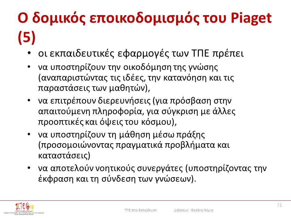 ΤΠΕ στην Εκπαίδευση Διδάσκων : Βασίλης Κόμης Ο δομικός εποικοδομισμός του Piaget (5) οι εκπαιδευτικές εφαρμογές των ΤΠΕ πρέπει να υποστηρίζουν την οικοδόμηση της γνώσης (αναπαριστώντας τις ιδέες, την κατανόηση και τις παραστάσεις των μαθητών), να επιτρέπουν διερευνήσεις (για πρόσβαση στην απαιτούμενη πληροφορία, για σύγκριση με άλλες προοπτικές και όψεις του κόσμου), να υποστηρίζουν τη μάθηση μέσω πράξης (προσομοιώνοντας πραγματικά προβλήματα και καταστάσεις) να αποτελούν νοητικούς συνεργάτες (υποστηρίζοντας την έκφραση και τη σύνδεση των γνώσεων).