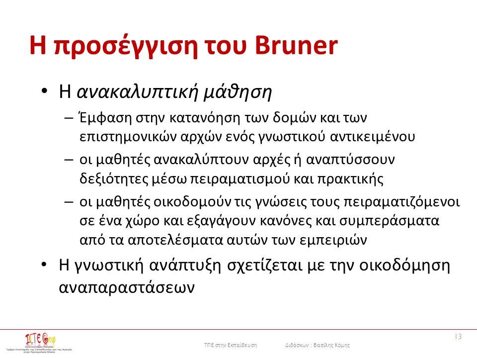 ΤΠΕ στην Εκπαίδευση Διδάσκων : Βασίλης Κόμης Η προσέγγιση του Bruner Η ανακαλυπτική μάθηση – Έμφαση στην κατανόηση των δομών και των επιστημονικών αρχ