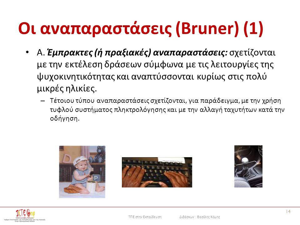 ΤΠΕ στην Εκπαίδευση Διδάσκων : Βασίλης Κόμης Οι αναπαραστάσεις (Bruner) (1) Α. Έμπρακτες (ή πραξιακές) αναπαραστάσεις: σχετίζονται με την εκτέλεση δρά