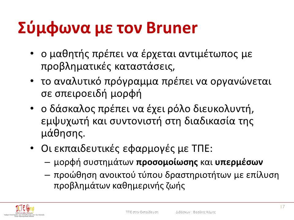 ΤΠΕ στην Εκπαίδευση Διδάσκων : Βασίλης Κόμης Σύμφωνα με τον Bruner ο μαθητής πρέπει να έρχεται αντιμέτωπος με προβληματικές καταστάσεις, το αναλυτικό πρόγραμμα πρέπει να οργανώνεται σε σπειροειδή μορφή ο δάσκαλος πρέπει να έχει ρόλο διευκολυντή, εμψυχωτή και συντονιστή στη διαδικασία της μάθησης.