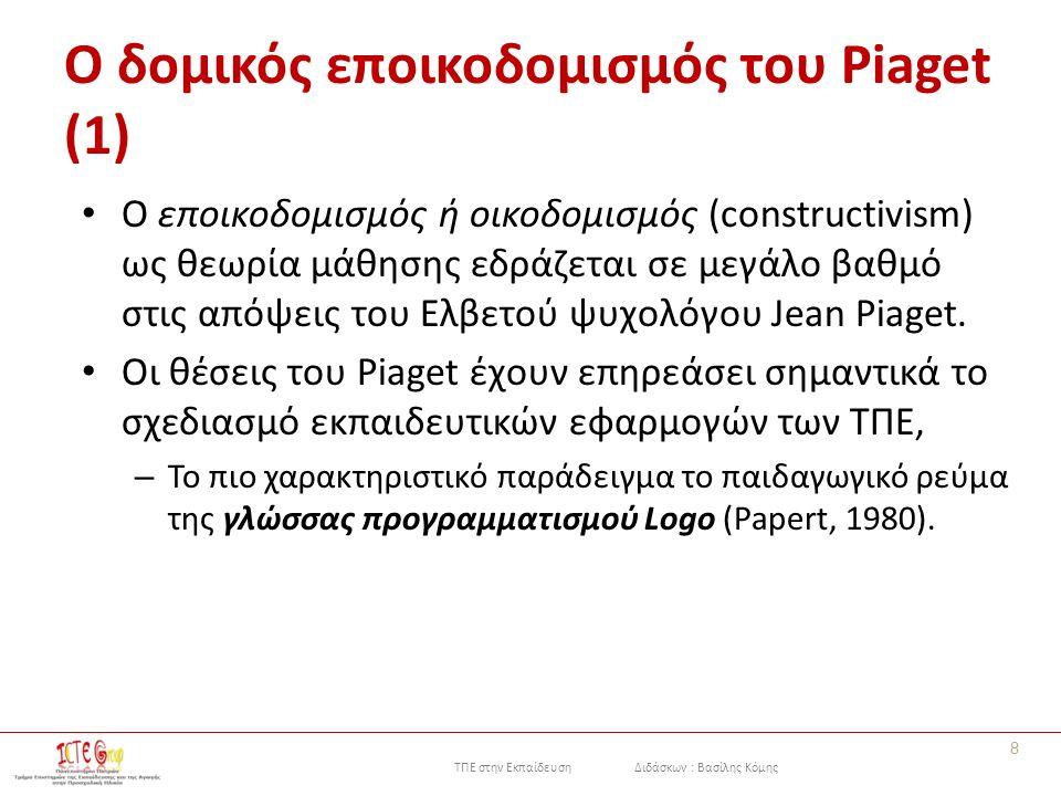 ΤΠΕ στην Εκπαίδευση Διδάσκων : Βασίλης Κόμης Ο δομικός εποικοδομισμός του Piaget (1) Ο εποικοδομισμός ή οικοδομισμός (constructivism) ως θεωρία μάθησης εδράζεται σε μεγάλο βαθμό στις απόψεις του Ελβετού ψυχολόγου Jean Piaget.