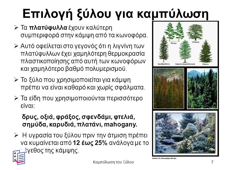 Επιλογή ξύλου για καμπύλωση  Τα πλατύφυλλα έχουν καλύτερη συμπεριφορά στην κάμψη από τα κωνοφόρα.