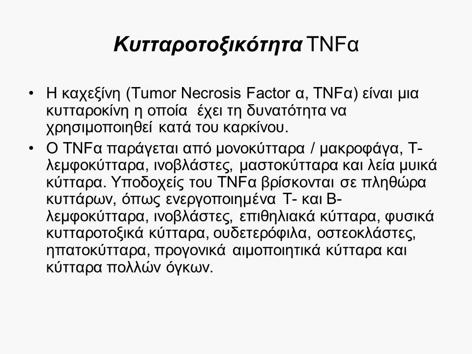 Κυτταροτοξικότητα TNFα Η καχεξίνη (Tumor Necrosis Factor α, TNFα) είναι μια κυτταροκίνη η οποία έχει τη δυνατότητα να χρησιμοποιηθεί κατά του καρκίνου.