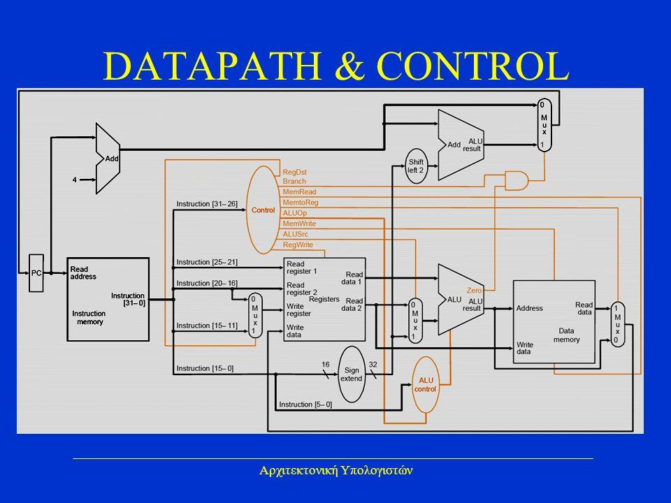 Αρχιτεκτονική Υπολογιστών DATAPATH & CONTROL