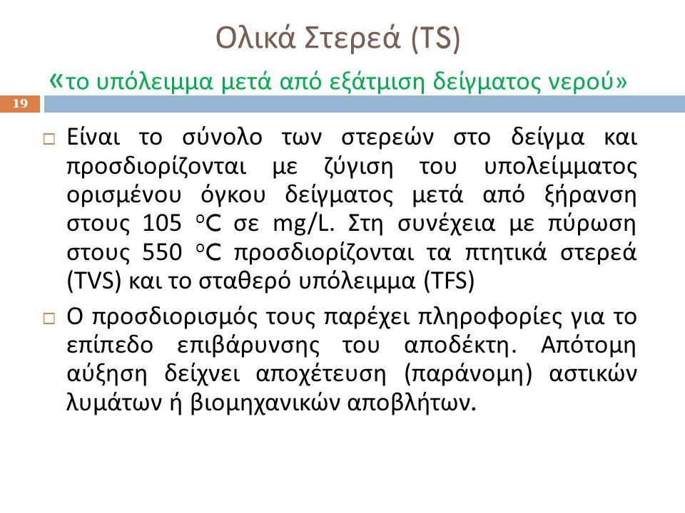 Ολικά Στερεά (TS) « το υπόλειμμα μετά από εξάτμιση δείγματος νερού » 19  Είναι το σύνολο των στερεών στο δείγμα και προσδιορίζονται με ζύγιση του υπο