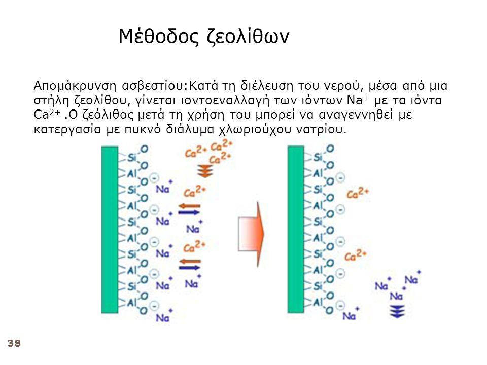 38 Απομάκρυνση ασβεστίου:Κατά τη διέλευση του νερού, μέσα από μια στήλη ζεολίθου, γίνεται ιοντοεναλλαγή των ιόντων Na + με τα ιόντα Ca 2+.Ο ζεόλιθος μετά τη χρήση του μπορεί να αναγεννηθεί με κατεργασία με πυκνό διάλυμα χλωριούχου νατρίου.