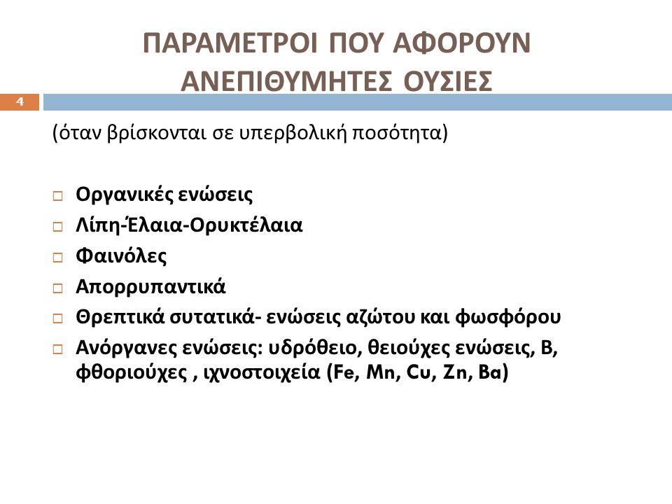 ΠΑΡΑΜΕΤΡΟΙ ΠΟΥ ΑΦΟΡΟΥΝ ΑΝΕΠΙΘΥΜΗΤΕΣ ΟΥΣΙΕΣ 4 ( όταν βρίσκονται σε υπερβολική ποσότητα )  Οργανικές ενώσεις  Λίπη - Έλαια - Ορυκτέλαια  Φαινόλες  Απορρυπαντικά  Θρεπτικά συτατικά - ενώσεις αζώτου και φωσφόρου  Ανόργανες ενώσεις : υδρόθειο, θειούχες ενώσεις, Β, φθοριούχες, ιχνοστοιχεία (Fe, Mn, Cu, Zn, Ba)