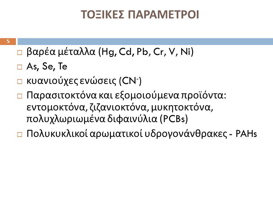 ΤΟΞΙΚΕΣ ΠΑΡΑΜΕΤΡΟΙ 5  βαρέα μέταλλα (Hg, Cd, Pb, Cr, V, Ni)  As, Se, Te  κυανιούχες ενώσεις (CN - )  Παρασιτοκτόνα και εξομοιούμενα προϊόντα : εντομοκτόνα, ζιζανιοκτόνα, μυκητοκτόνα, πολυχλωριωμένα διφαινύλια (PCBs)  Πολυκυκλικοί αρωματικοί υδρογονάνθρακες - PAHs