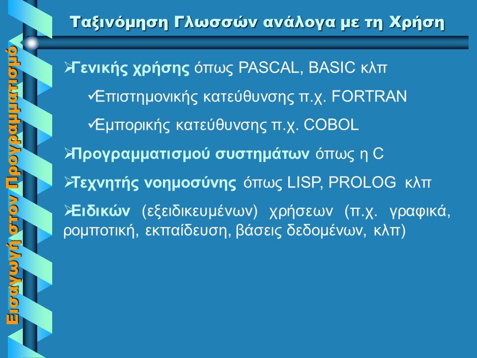 Εισαγωγή στον Προγραμματισμό Ταξινόμηση γλωσσών ανάλογα με τον Τρόπο Προγραμματισμού  Αλγοριθμικές ή διαδικασιακές (procedural) όπως FORTRAN, COBOL, ALGOL, PASCAL, BASIC κλπ  Αντικειμενοστραφείς (object – oriented) όπως SMALLTALK, C++, JAVA, κλπ  Μη διαδικαστικές (non procedural) ή λογικές όπως η PROLOG  Συναρτησιακές (functional) όπως η LISP  Οπτικές (visual) όπως VISUAL BASIC, VISUAL C, VISUAL C++, κλπ  Ερωταπαντήσεων (query languages) όπως η SQL