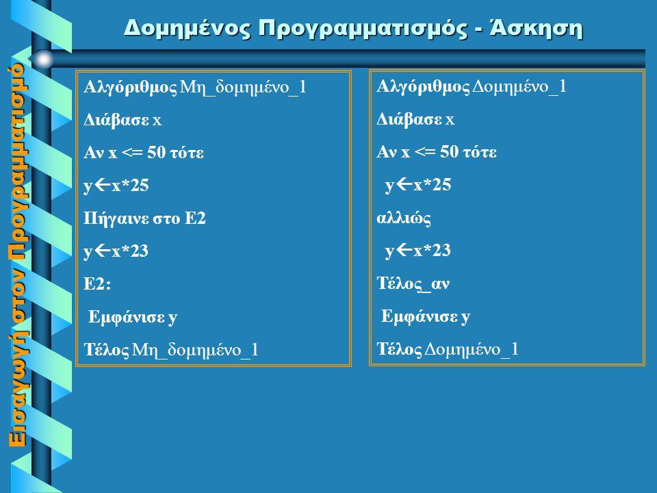 Εισαγωγή στον Προγραμματισμό Δομημένος Προγραμματισμός - Παράδειγμα Αν Αριθμός>0 τότε GOTO 1 Αν Αριθμός=0 τότε GOTO 2 ΓΡΑΨΕ 'Αρνητικός' GOTO 4 1: ΓΡΑΨΕ 'Θετικός' GOTO 4 2: ΓΡΑΨΕ 'Μηδέν' GOTO 4 4:.