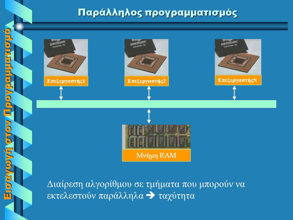 Εισαγωγή στον Προγραμματισμό Παράλληλος Προγραμματισμός  Είναι μία νέα προσπάθεια εξέλιξης των γλωσσών, ώστε να μπορούμε να εκμεταλλευτούμε συστήματα με περισσότερους από έναν επεξεργαστές που λειτουργούν παράλληλα και μοιράζονται την ίδια μνήμη  Οι εντολές των προγραμμάτων 'διαμοιράζονται' κατάλληλα στους διαφορετικούς επεξεργαστές  Τα προγράμματα γίνονται πολύ ταχύτερα  Στο μέλλον θα υπάρξει μεγάλη άνθηση του παράλληλου προγραμματισμού  Σήμερα οι κυριότεροι εκφραστές του είναι η OCCAM, η Parallel C, κ.α.