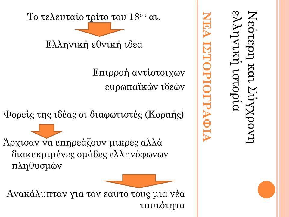 ΝΕΑ ΙΣΤΟΡΙΟΓΡΑΦΙΑ Νεότερη και Σύγχρονηελληνική ιστορία Το τελευταίο τρίτο του 18 ου αι.