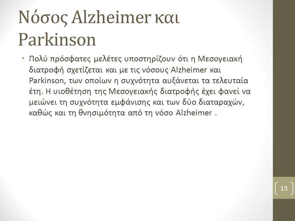 Νόσος Alzheimer και Parkinson Πολύ πρόσφατες μελέτες υποστηρίζουν ότι η Μεσογειακή διατροφή σχετίζεται και με τις νόσους Alzheimer και Parkinson, των οποίων η συχνότητα αυξάνεται τα τελευταία έτη.