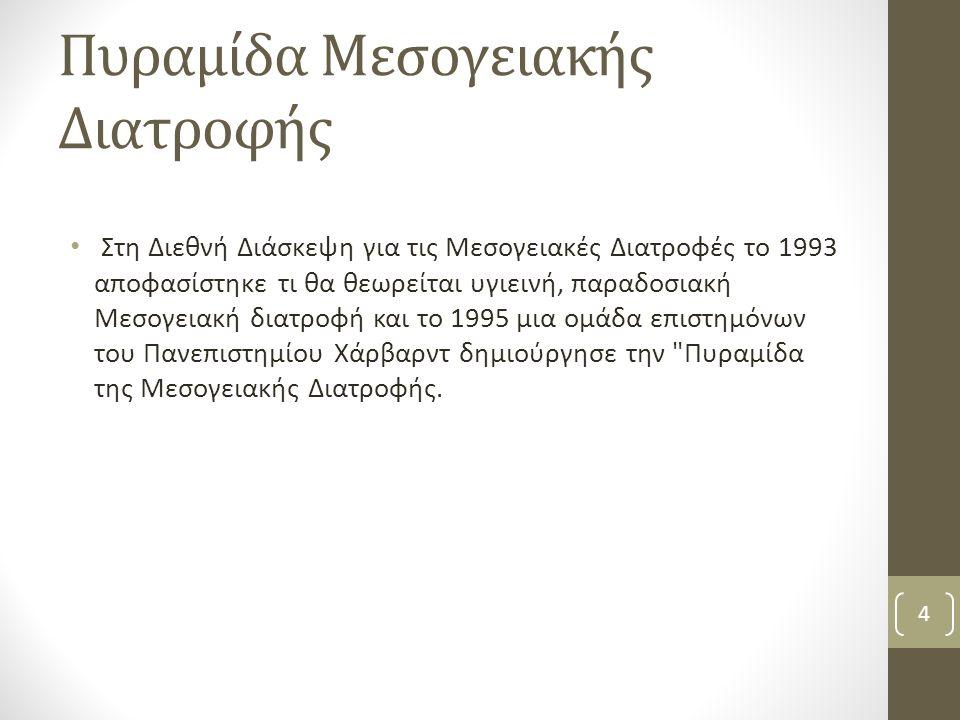 Πυραμίδα Μεσογειακής Διατροφής Στη Διεθνή Διάσκεψη για τις Μεσογειακές Διατροφές το 1993 αποφασίστηκε τι θα θεωρείται υγιεινή, παραδοσιακή Μεσογειακή διατροφή και το 1995 μια ομάδα επιστημόνων του Πανεπιστημίου Χάρβαρντ δημιούργησε την Πυραμίδα της Μεσογειακής Διατροφής.