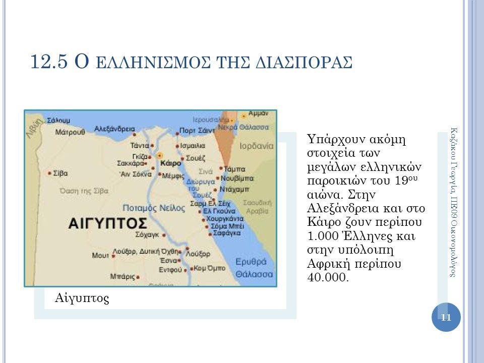 12.5 Ο ΕΛΛΗΝΙΣΜΟΣ ΤΗΣ ΔΙΑΣΠΟΡΑΣ Αίγυπτος Υπάρχουν ακόμη στοιχεία των μεγάλων ελληνικών παροικιών του 19 ου αιώνα.