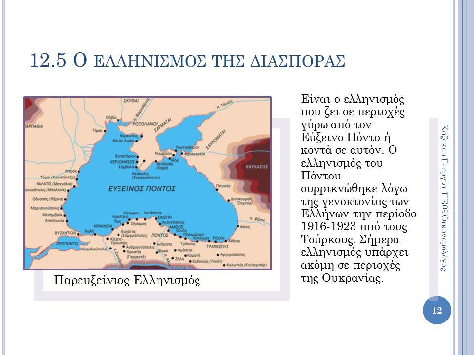 12.5 Ο ΕΛΛΗΝΙΣΜΟΣ ΤΗΣ ΔΙΑΣΠΟΡΑΣ Παρευξείνιος Ελληνισμός Είναι ο ελληνισμός που ζει σε περιοχές γύρω από τον Εύξεινο Πόντο ή κοντά σε αυτόν.