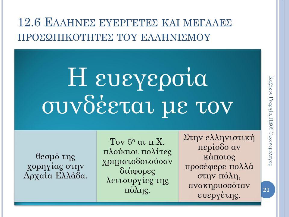 12.6 Ε ΛΛΗΝΕΣ ΕΥΕΡΓΕΤΕΣ ΚΑΙ ΜΕΓΑΛΕΣ ΠΡΟΣΩΠΙΚΟΤΗΤΕΣ ΤΟΥ ΕΛΛΗΝΙΣΜΟΥ Η ευεγερσία συνδέεται με τον θεσμό της χορηγίας στην Αρχαία Ελλάδα.