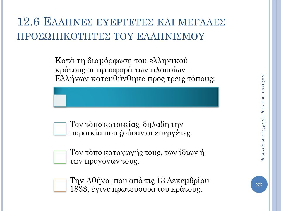 12.6 Ε ΛΛΗΝΕΣ ΕΥΕΡΓΕΤΕΣ ΚΑΙ ΜΕΓΑΛΕΣ ΠΡΟΣΩΠΙΚΟΤΗΤΕΣ ΤΟΥ ΕΛΛΗΝΙΣΜΟΥ Κατά τη διαμόρφωση του ελληνικού κράτους οι προσφορά των πλουσίων Ελλήνων κατευθύνθηκε προς τρεις τόπους: Τον τόπο κατοικίας, δηλαδή την παροικία που ζούσαν οι ευεργέτες.