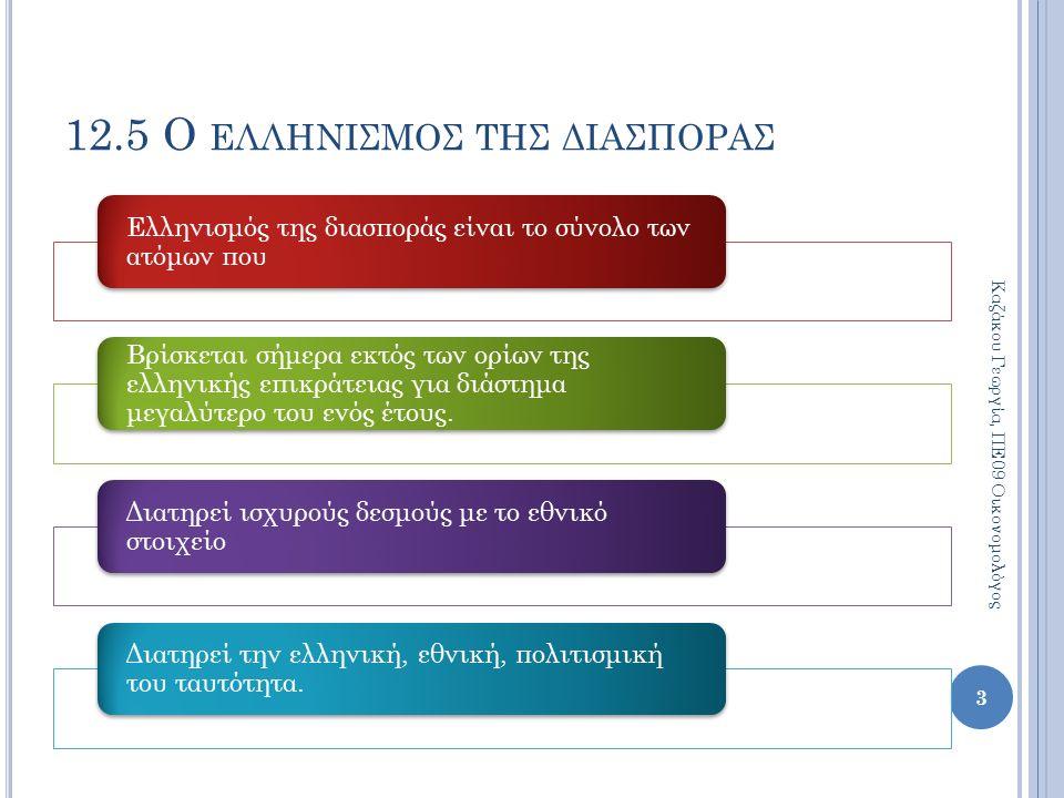 12.5 Ο ΕΛΛΗΝΙΣΜΟΣ ΤΗΣ ΔΙΑΣΠΟΡΑΣ Ελληνισμός της διασποράς είναι το σύνολο των ατόμων που Βρίσκεται σήμερα εκτός των ορίων της ελληνικής επικράτειας για διάστημα μεγαλύτερο του ενός έτους.