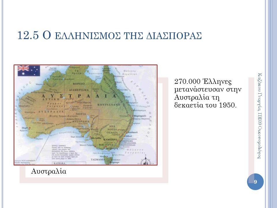 12.5 Ο ΕΛΛΗΝΙΣΜΟΣ ΤΗΣ ΔΙΑΣΠΟΡΑΣ Γερμανία Μετά το Β' Παγκόσμιο Πόλεμο 650.000 Έλληνες μετανάστευσαν για να εργαστούν ως βιομηχανικοί εργάτες.