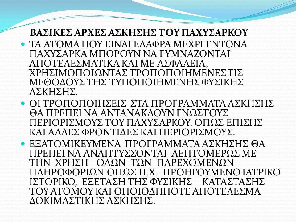 ΒΑΣΙΚΕΣ ΑΡΧΕΣ ΑΣΚΗΣΗΣ ΤΟΥ ΠΑΧΥΣΑΡΚΟΥ ΤΑ ΑΤΟΜΑ ΠΟΥ ΕΙΝΑΙ ΕΛΑΦΡΑ ΜΕΧΡΙ ΕΝΤΟΝΑ ΠΑΧΥΣΑΡΚΑ ΜΠΟΡΟΥΝ ΝΑ ΓΥΜΝΑΖΟΝΤΑΙ ΑΠΟΤΕΛΕΣΜΑΤΙΚΑ ΚΑΙ ΜΕ ΑΣΦΑΛΕΙΑ, ΧΡΗΣΙΜΟΠΟΙΩΝΤΑΣ ΤΡΟΠΟΠΟΙΗΜΕΝΕΣ ΤΙΣ ΜΕΘΟΔΟΥΣ ΤΗΣ ΤΥΠΟΠΟΙΗΜΕΝΗΣ ΦΥΣΙΚΗΣ ΑΣΚΗΣΗΣ.