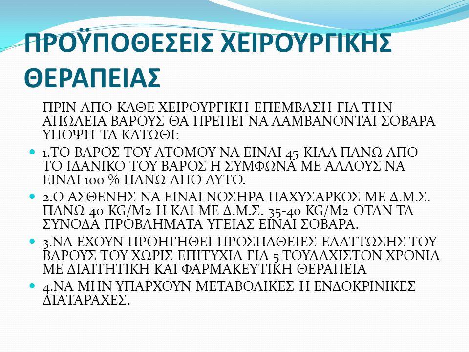 ΠΡΟΫΠΟΘΕΣΕΙΣ ΧΕΙΡΟΥΡΓΙΚΗΣ ΘΕΡΑΠΕΙΑΣ ΠΡΙΝ ΑΠΟ ΚΑΘΕ ΧΕΙΡΟΥΡΓΙΚΗ ΕΠΕΜΒΑΣΗ ΓΙΑ ΤΗΝ ΑΠΩΛΕΙΑ ΒΑΡΟΥΣ ΘΑ ΠΡΕΠΕΙ ΝΑ ΛΑΜΒΑΝΟΝΤΑΙ ΣΟΒΑΡΑ ΥΠΟΨΗ ΤΑ ΚΑΤΩΘΙ: 1.ΤΟ ΒΑΡΟΣ ΤΟΥ ΑΤΟΜΟΥ ΝΑ ΕΙΝΑΙ 45 ΚΙΛΑ ΠΑΝΩ ΑΠΟ ΤΟ ΙΔΑΝΙΚΟ ΤΟΥ ΒΑΡΟΣ Η ΣΥΜΦΩΝΑ ΜΕ ΑΛΛΟΥΣ ΝΑ ΕΙΝΑΙ 100 % ΠΑΝΩ ΑΠΟ ΑΥΤΟ.