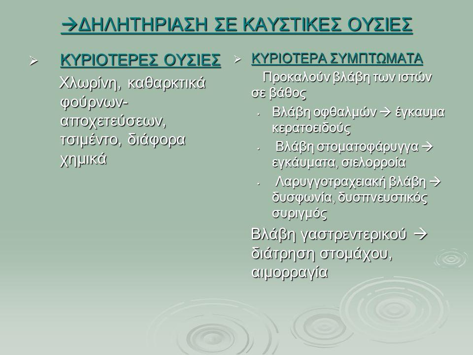  ΔΗΛΗΤΗΡΙΑΣΗ ΣΕ ΚΑΥΣΤΙΚΕΣ ΟΥΣΙΕΣ  ΚΥΡΙΟΤΕΡΕΣ ΟΥΣΙΕΣ Χλωρίνη, καθαρκτικά φούρνων- αποχετεύσεων, τσιμέντο, διάφορα χημικά Χλωρίνη, καθαρκτικά φούρνων- αποχετεύσεων, τσιμέντο, διάφορα χημικά  ΚΥΡΙΟΤΕΡΑ ΣΥΜΠΤΩΜΑΤΑ Προκαλούν βλάβη των ιστών σε βάθος Προκαλούν βλάβη των ιστών σε βάθος Βλάβη οφθαλμών  έγκαυμα κερατοειδούς Βλάβη στοματοφάρυγγα  εγκάυματα, σιελορροία Λαρυγγοτραχειακή βλάβη  δυσφωνία, δυσπνευστικός συριγμός Βλάβη γαστρεντερικού  διάτρηση στομάχου, αιμορραγία Βλάβη γαστρεντερικού  διάτρηση στομάχου, αιμορραγία