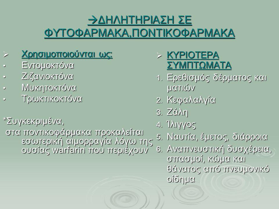  ΔΗΛΗΤΗΡΙΑΣΗ ΣΕ ΦΥΤΟΦΑΡΜΑΚΑ,ΠΟΝΤΙΚΟΦΑΡΜΑΚΑ  Χρησιμοποιούνται ως: Εντομοκτόνα Εντομοκτόνα Ζιζανιοκτόνα Ζιζανιοκτόνα Μυκητοκτόνα Μυκητοκτόνα Τρωκτικοκτόνα Τρωκτικοκτόνα*Συγκεκριμένα, στα ποντικοφάρμακα προκαλείται εσωτερική αιμορραγία λόγω της ουσίας warfarin που περιέχουν στα ποντικοφάρμακα προκαλείται εσωτερική αιμορραγία λόγω της ουσίας warfarin που περιέχουν  ΚΥΡΙΟΤΕΡΑ ΣΥΜΠΤΩΜΑΤΑ 1.