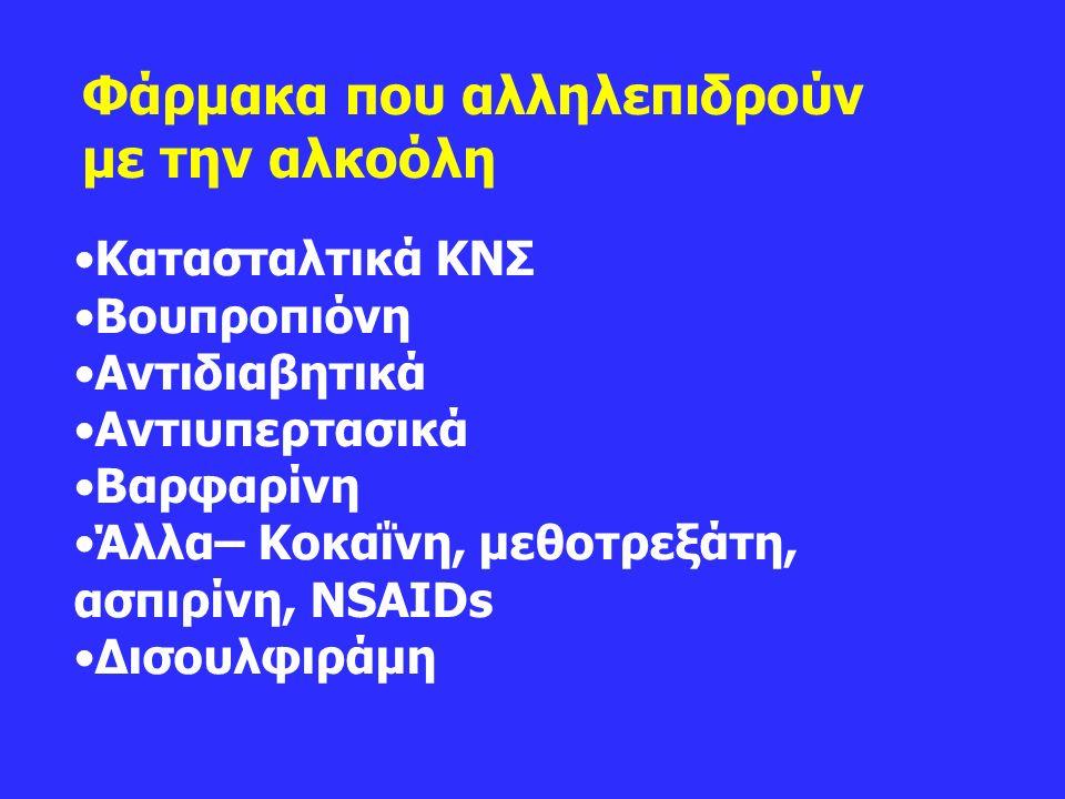 Φάρμακα που αλληλεπιδρούν με την αλκοόλη Κατασταλτικά ΚΝΣ Bουπροπιόνη Aντιδιαβητικά Aντιυπερτασικά Βαρφαρίνη Άλλα– Κοκαΐνη, μεθοτρεξάτη, ασπιρίνη, NSAIDs Δισουλφιράμη