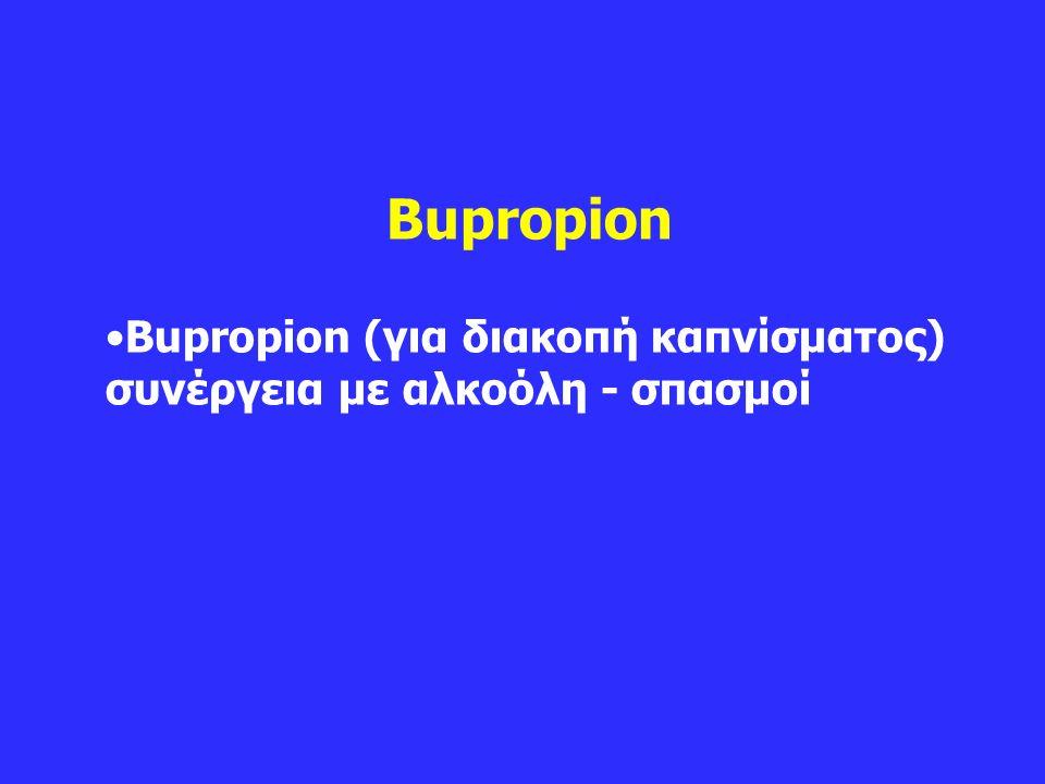 Bupropion Bupropion (για διακοπή καπνίσματος) συνέργεια με αλκοόλη - σπασμοί