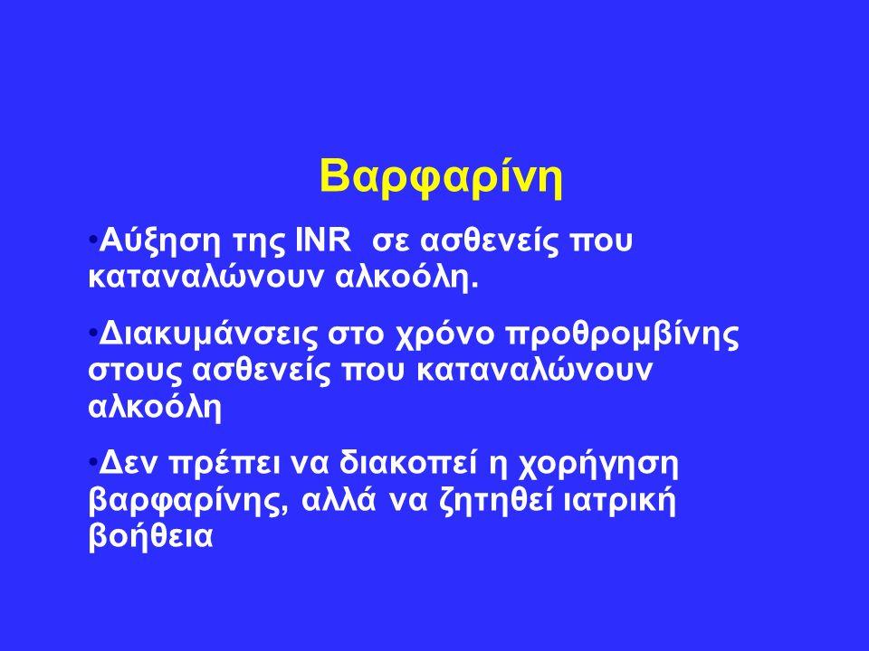 Βαρφαρίνη Αύξηση της INR σε ασθενείς που καταναλώνουν αλκοόλη.