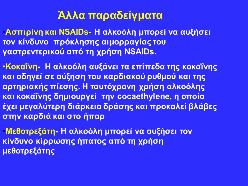 Άλλα παραδείγματα Ασπιρίνη και NSAIDs- Η αλκοόλη μπορεί να αυξήσει τον κίνδυνο πρόκλησης αιμορραγίας του γαστρεντερικού από τη χρήση NSAIDs.